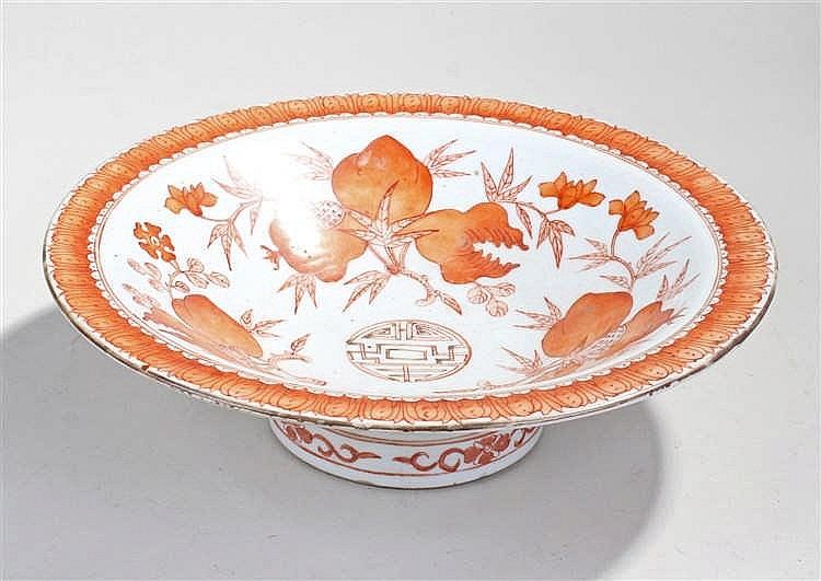 Chinese porcelain dish, the orange leaf and branch decoration with white gr