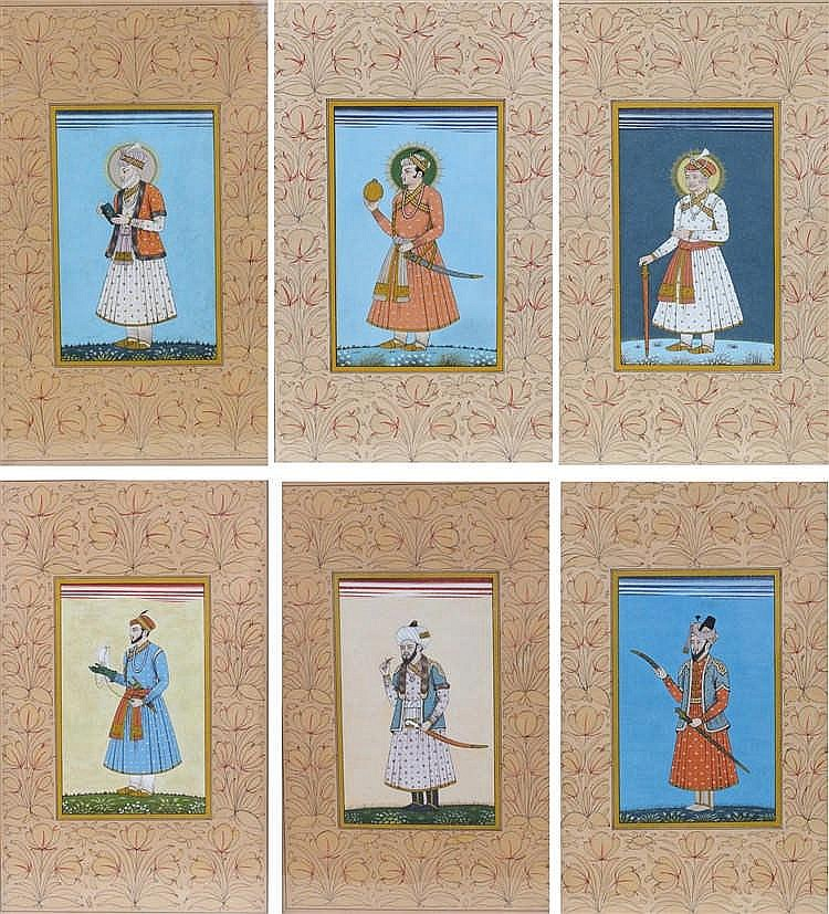 Set of six Mogul gouache paintings, each painted with male figures, to incl