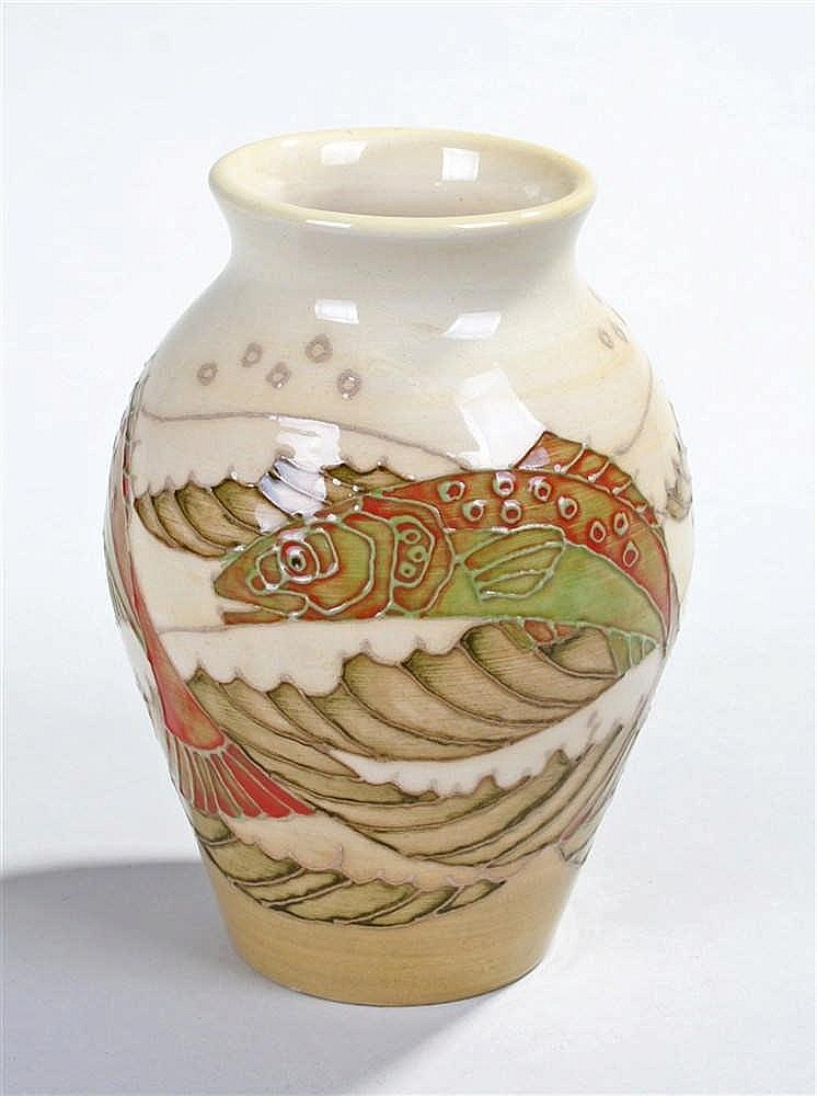 Sally Tuffin for Dennis China Works, the vase decorated with arched fish, i