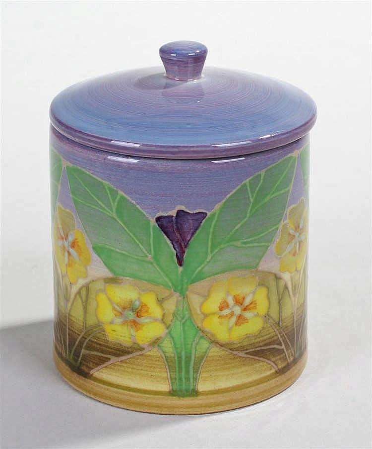 Sally Tuffin for Dennis China Works, cylindrical lidded jar, decorated with