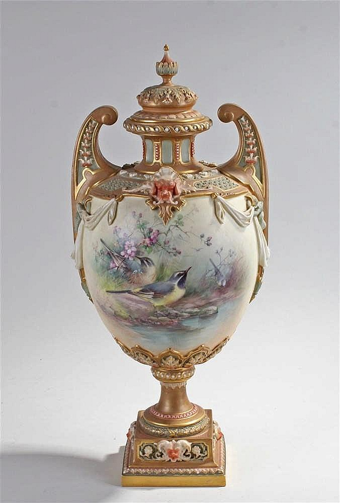 Exceptional Royal Worcester twin handled lidded vase, decorated by Charles
