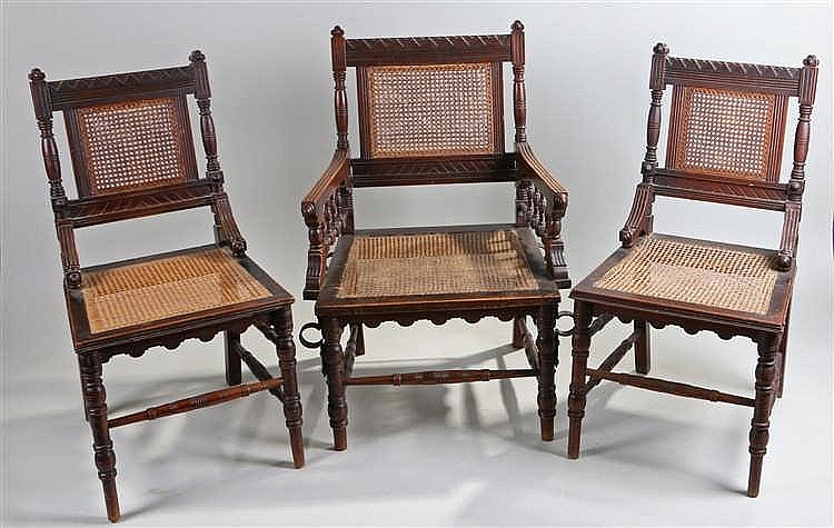 Unusual set of ten Victorian mahogany and cane dining chairs, the triangul