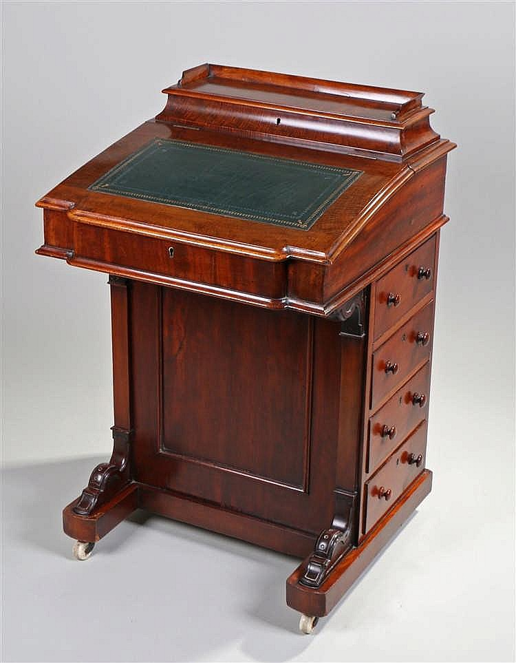 Victorian mahogany davenport, the hinged gallery top above a sloping fall w
