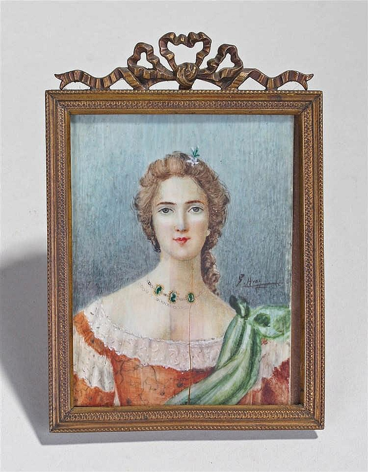 Miniature portrait, signed G Avoi? of a lady with a red dress and jewellery