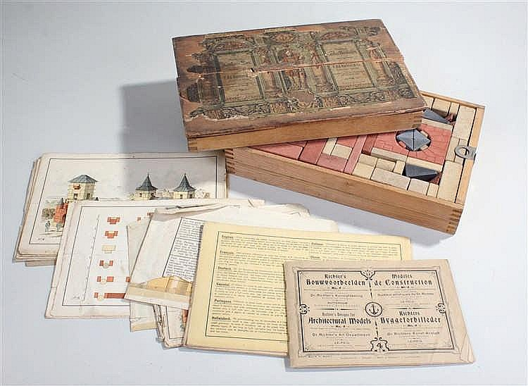 19th Century Richter & Co building blocks, circa 1880, with paper label to