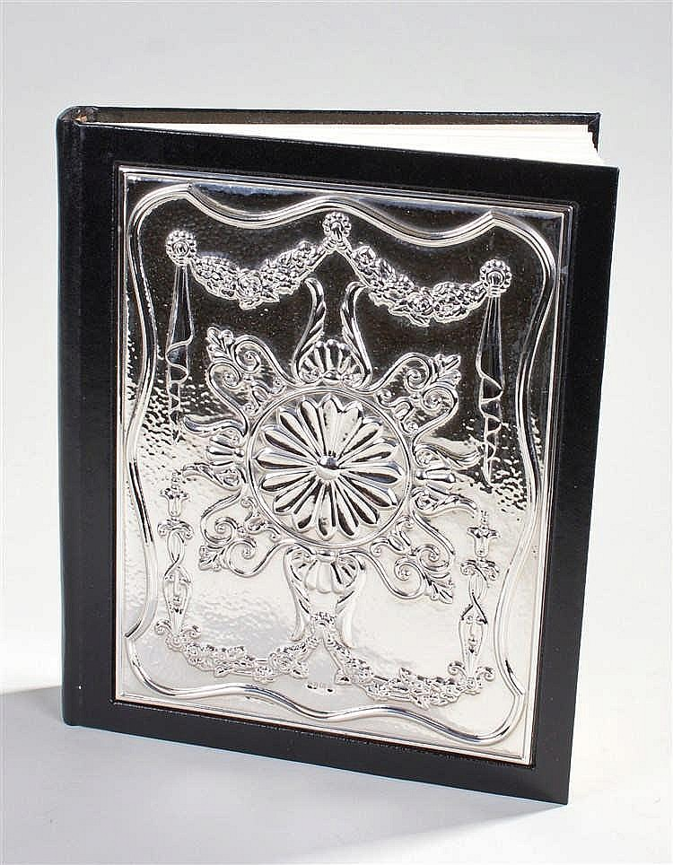Elizabeth II silver fronted photograph album, Sheffeild 1995, maker Carrs o