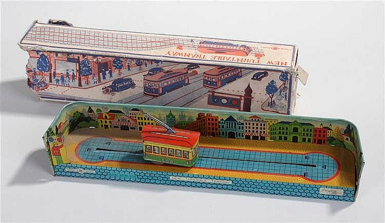 Fairylite tin plate toy, New Turntable Tramway, Patent App No 9232, boxed