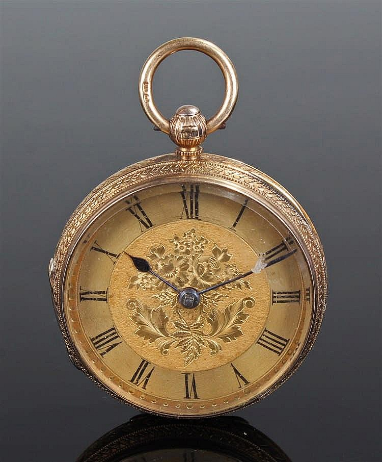 Ladies 18 carat gold open faced pocket watch, the gilded dial with engraved