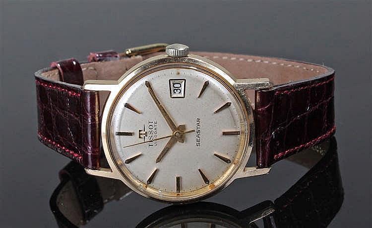 Tissot Visodate Seastar gentleman's gold plated wristwatch, the silvered si