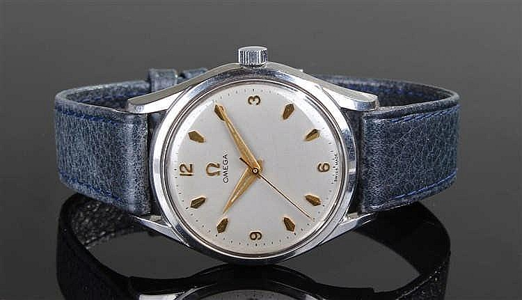 Omega gentleman's stainless steel wristwatch, the silvered dial with gilt a