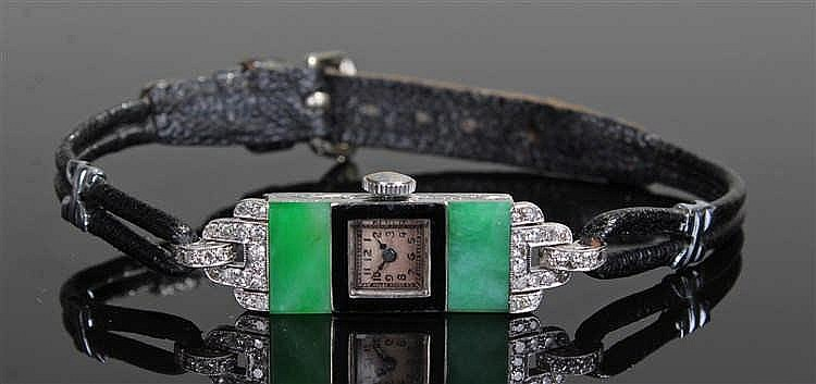 Art Deco platinum diamond and jade ladies wristwatch, the silvered dial wit