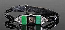 Art Deco platinum diamond and jade ladies wristwatch, the silvered dial wit