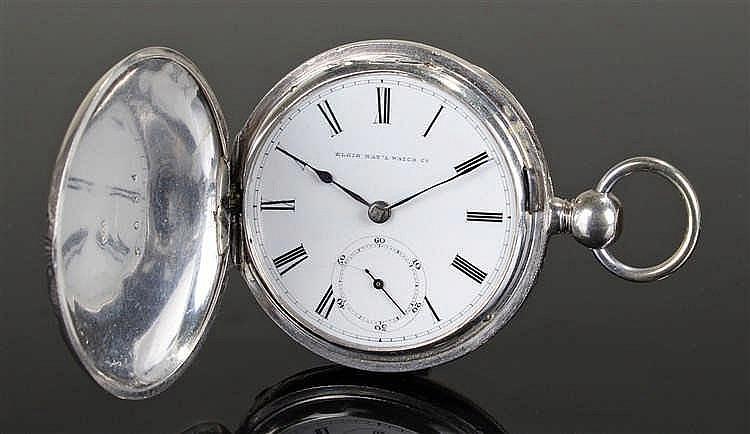 Elgin National Watch Company silver hunter pocket watch, circa 1870, the en
