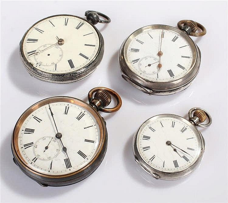 Pocket watches, to include three silver examples and a gun metal example, (