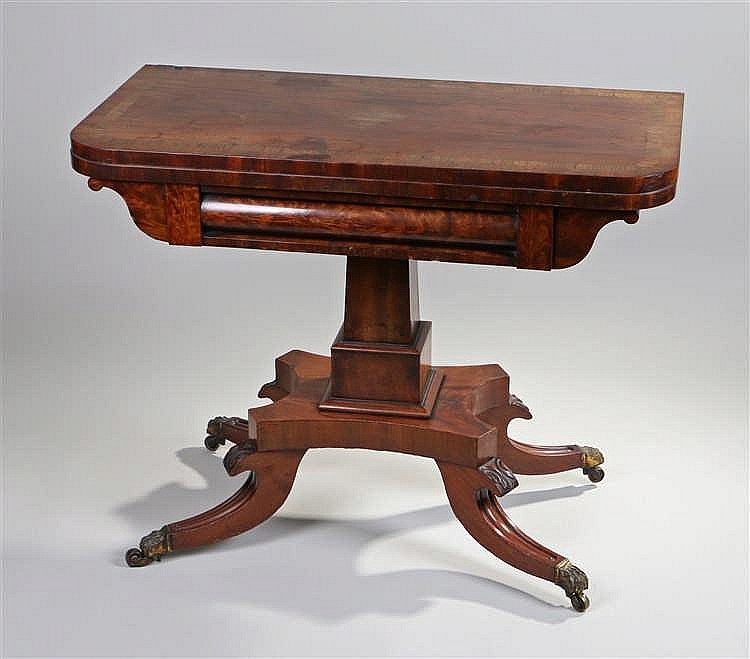 Victorian Scottish mahogany and rosewood banded Card Table, the fold over t
