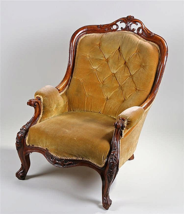 Victorian oak button back armchair, the angled back with scroll show wood f