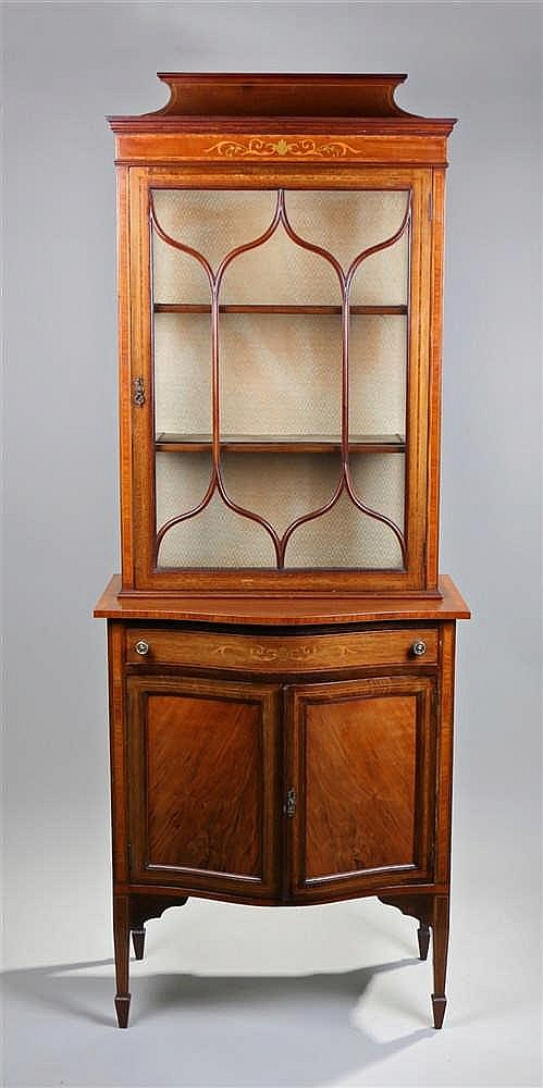 Victorian mahogany walnut and satinwood strung display cabinet, the glazed