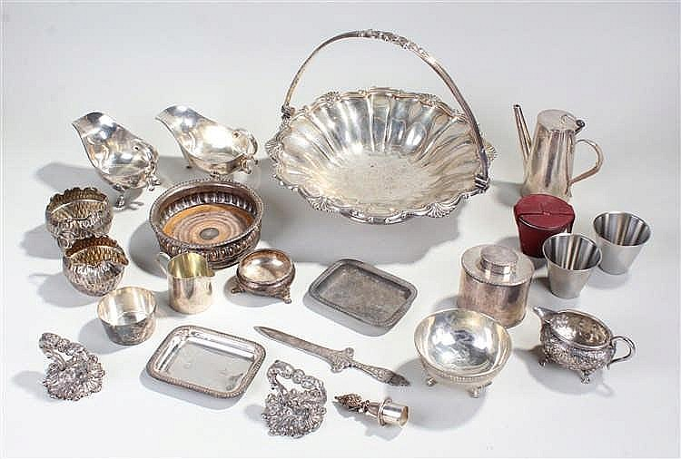 Quantity of silver plate to include a large basket, two sauce boats, wine c