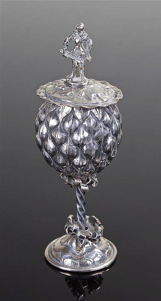 19th Century white metal pineapple cup and cover, of small proportions, the