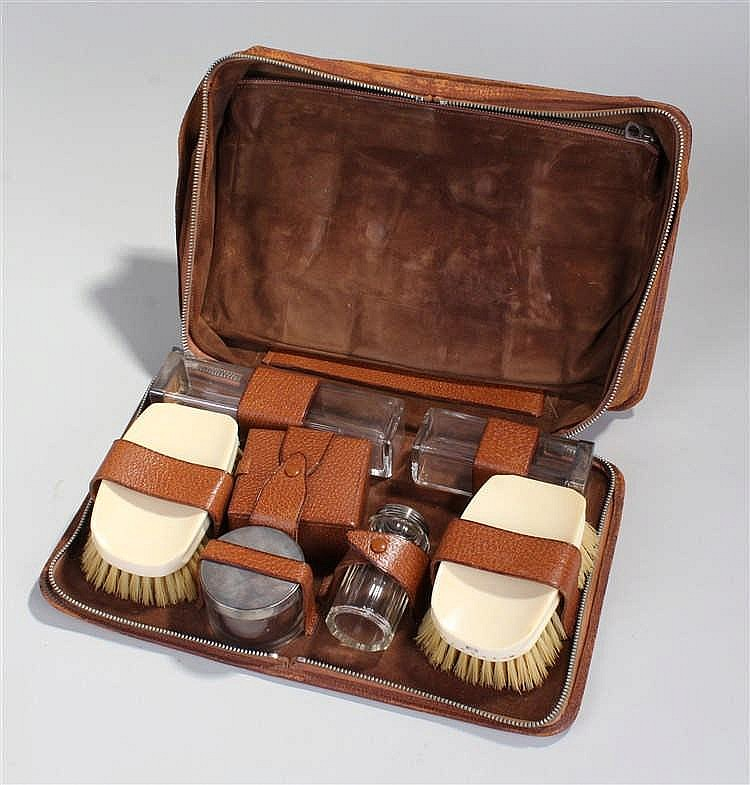 George VI silver and ivorine vanity set, to include brushes and silver capp
