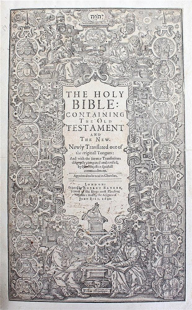 Circa 1640 Last Black-Letter Bible, The Holy Bible containing the Old Testa