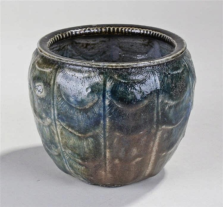 Martin Brothers vase, of ovoid form, with a green internal glaze and exteri