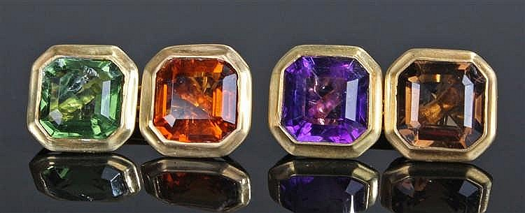 Pair of yellow metal multi stone cufflinks, the cufflinks set in purple, or