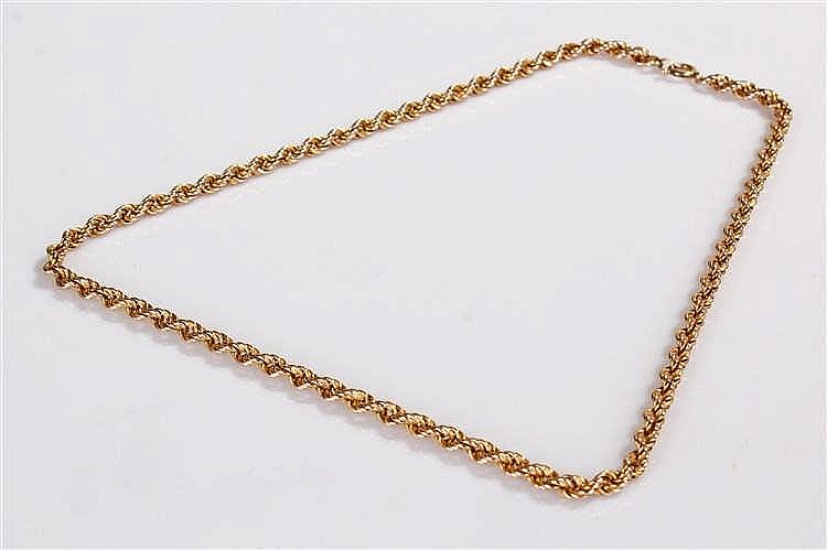 9 carat gold chain, the rope link chain with clip end, 10.6 grams, 46cm lon