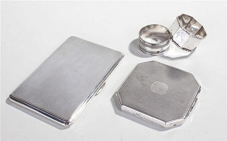 Silver objects, to include two silver napkin rings, compact  and cigarette