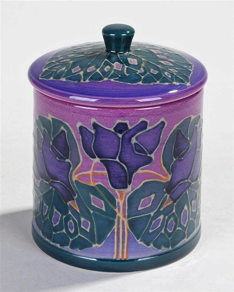Sally Tuffin for Dennis China Works, cylindrical lidded jar decorated in pu