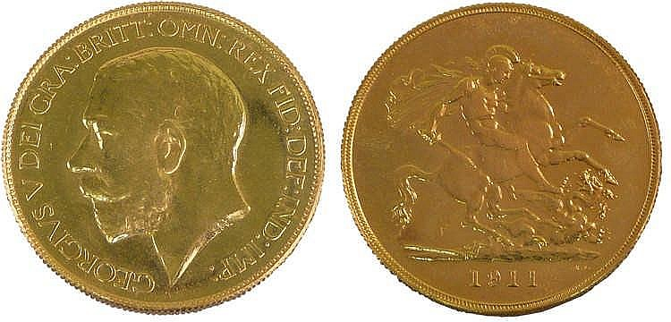 George V gold Five Pounds 1911, St George and the Dragon to the reverse