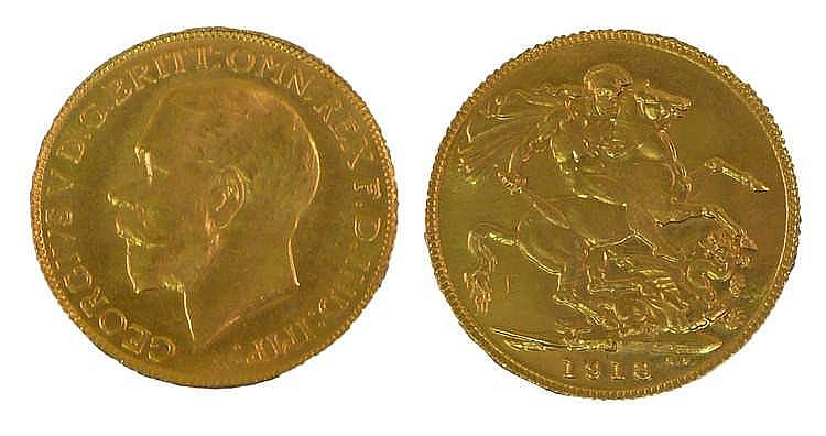 George V Sovereign 1918, St George and the Dragon to the reverse