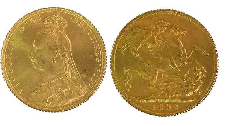 Victoria Sovereign 1892, St George and the Dragon to the reverse