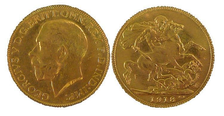 George V Sovereign, 1918, St George and the Dragon to the reverse