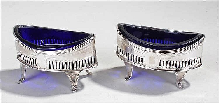 Matched pair of George III silver salts, London 1790 and 1794, makers Samue