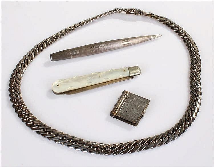 Silver objects, to include a silver necklace, a silver bladed fruit knife a
