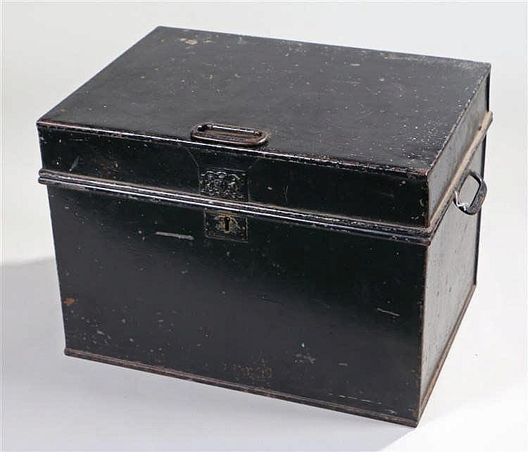 Victorian strong box, the black painted box with coat of arms to the front