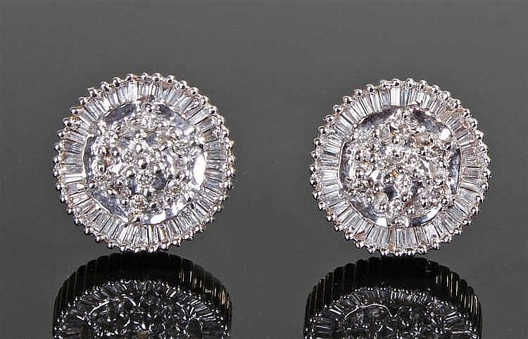 18 carat white gold diamond set earrings, set with round and baguette diamo