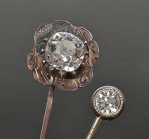 Two Stick pins, to include a Victorian example with paste stone and another