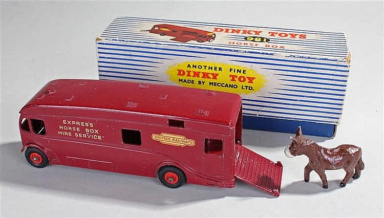 Dinky 981 Horse Box, in red complete with donkey toy, boxed