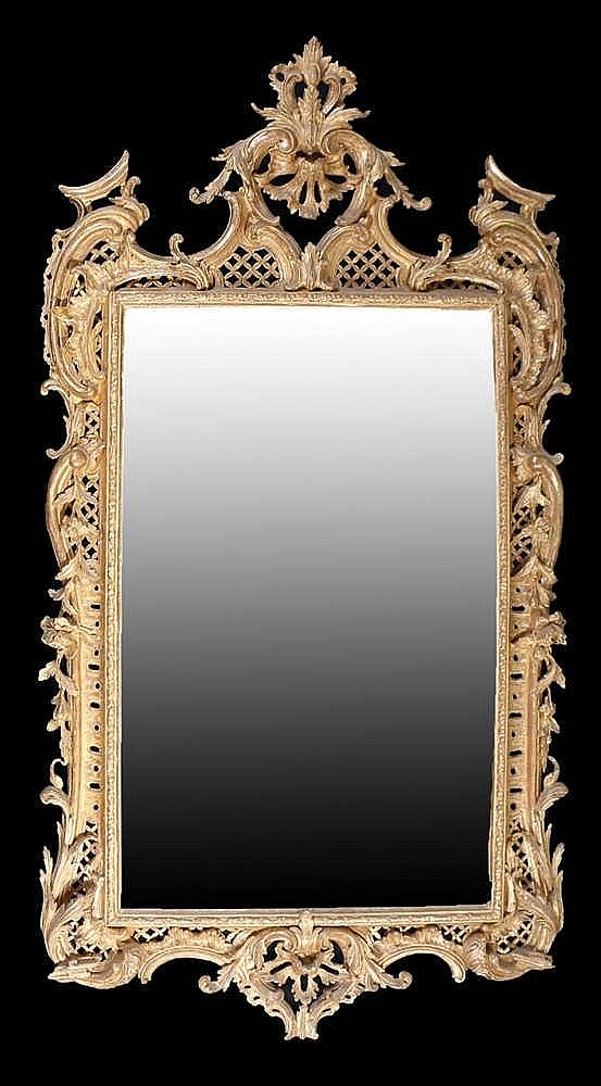 Superb George II English rococo gilt framed mirror, circa 1755, the rectang