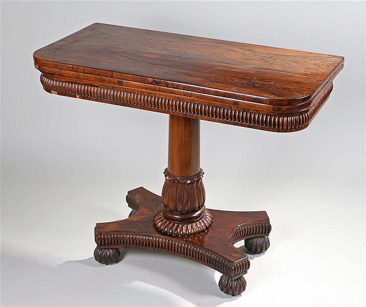 Fine William IV rosewood card table, in the manner of Gillows, the fold ove