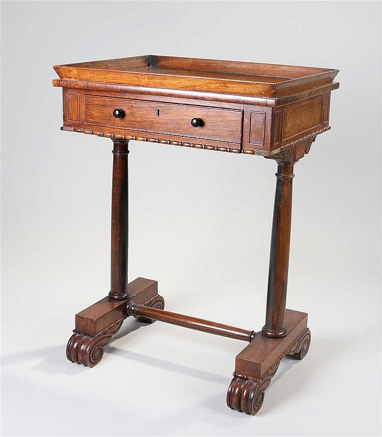 Victorian rosewood work table, the rectangular top with angled high gallery