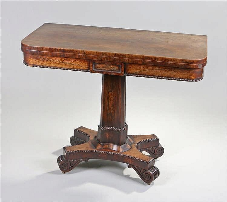 Victorian rosewood card table, the rectangular, fold over top with shaped c