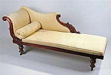 Victorian mahogany chaise lounge, the undulating back with pad upholstery s