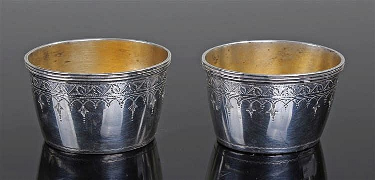 Pair of Victorian silver salts, London 1881, maker John Aldwinckle & James