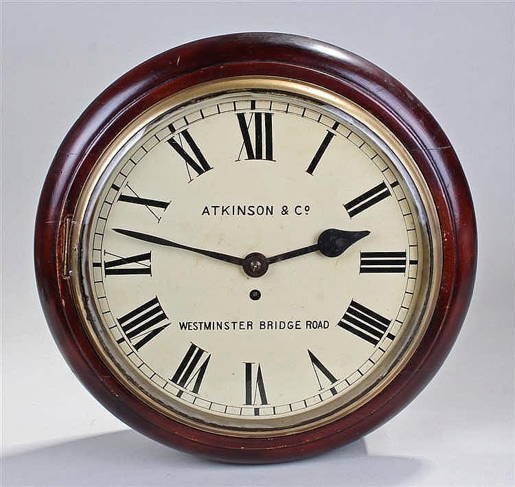 Victorian mahogany wall clock, Atkinson & Co, Westminster Bridge Road, the