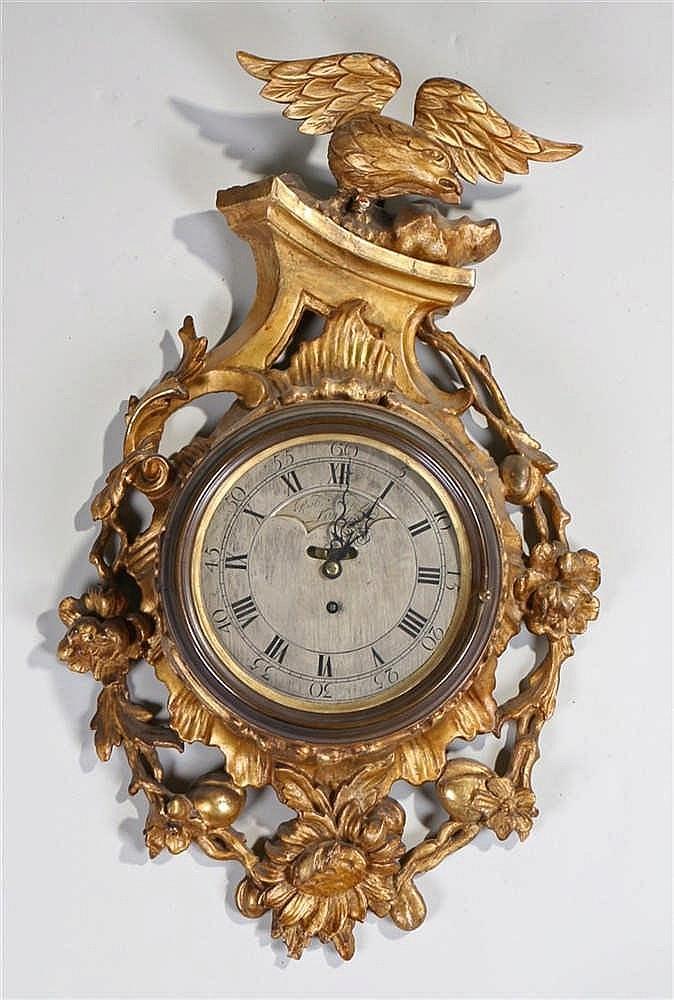 George III gilt gesso cartel clock, Robert Manley of London, circa 1775, th