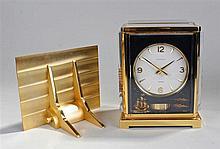 Jaeger LeCoultre Marina Atmos clock, circular silvered dial with Arabic hou