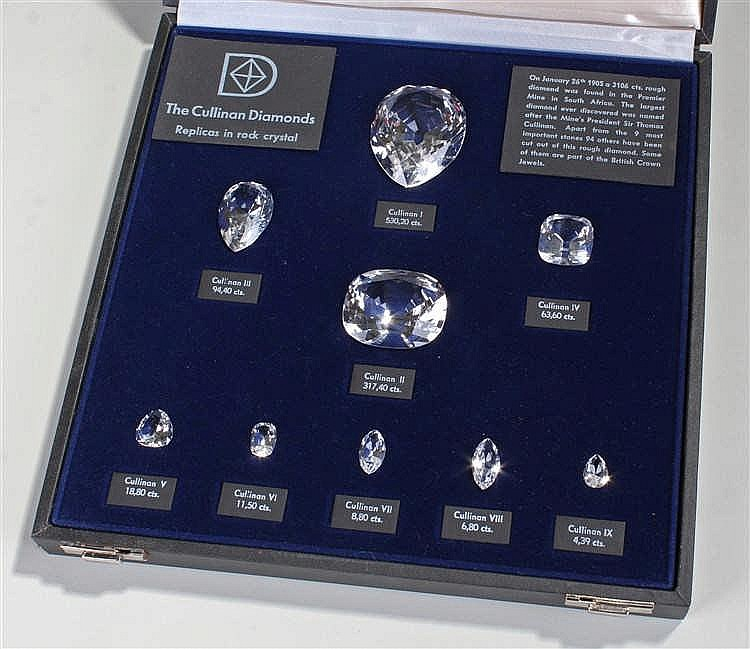 The Cullinan Diamonds replica set, cut in rock crystal the ten examples hou